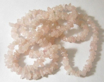 Pantone Color of the Year 2016 Beautiful Rich Genuine Rose Quartz Chip Beads Full 34""