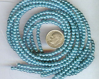 3mm Elegant Montana Blue Glass Pearls 50 pcs