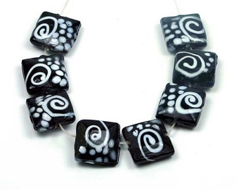 Lampwork Glass Black White Spiral Square Beads 15mm 4pcs