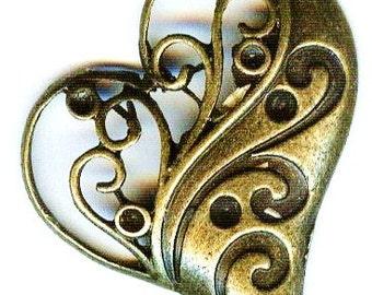 Floating Heart Antique Bronze Pendant 42mm 2 pcs