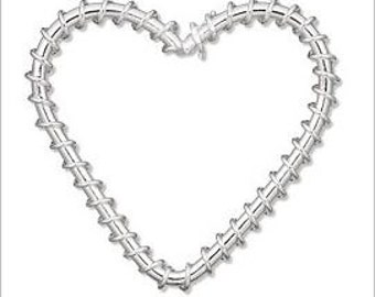 30mm Silver Wire Wrapped Heart Pendant - 4pc