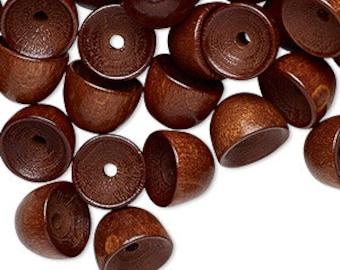 Unique Dark Brown Vintage German Wood Bead Caps 10mm 50pcs