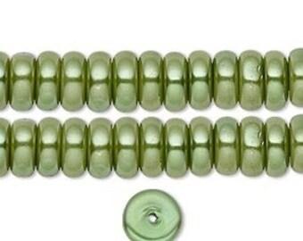 Elegant Glass Pearl Rondelles Fern Green 8x3mm 35 pcs
