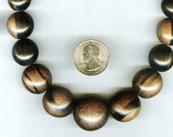 UNFINISHED NEW MATTE Bold & Chunky Graduated Tiger Ebony Wood Beads 10-25mm 16in