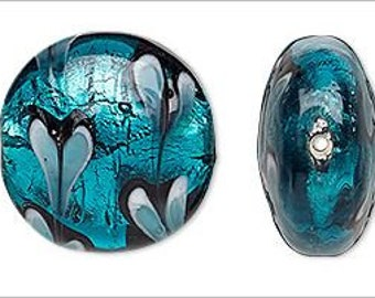 4 Deep Teal Blue Foil Lampwork Glass Lentil Beads w/Hearts 22mm