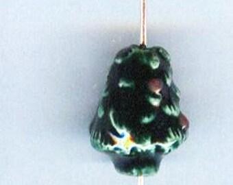 Adorable Teeny Tiny Christmas Tree Ceramic Beads 1 pair