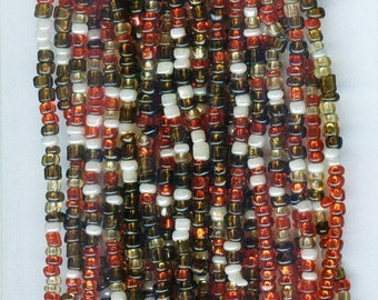 Earthy Red & Brown Lined Mix Glass Seed Beads  10/0 1 hank