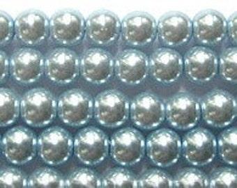 6mm Elegant Blue Violet Glass Pearls 25 pcs