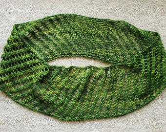 JADE handknit green merino wool infinity scarf cowl lace