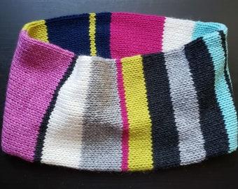MARTHA'S VINEYARD striped cashmere cowl handknit