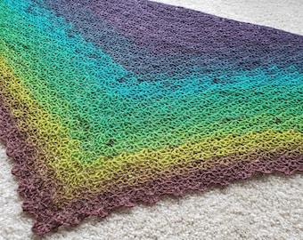 VERTIGO Crochet Lace Dark Rainbow Scarf Shawl Wool
