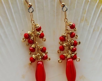 "Red 2.5"" Vintage glass cluster dangle earrings"