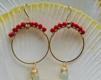 """Pineapple quartz  2.5"""" Red Glass Pineapple Quartz Cluster Dangle Earrings"""