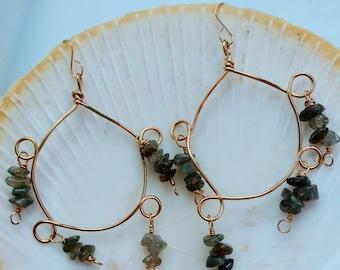 Labradorite Chips Hoop Dangle Earrings