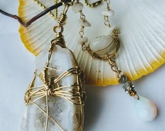 "Two Piece Bundle Crystal Necklace 24"" Agate Stone Pendant"
