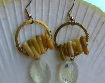 "Dyed Yellow Coral 2"" Brass Pineapple Quartz Hoop Dangle Earrings"