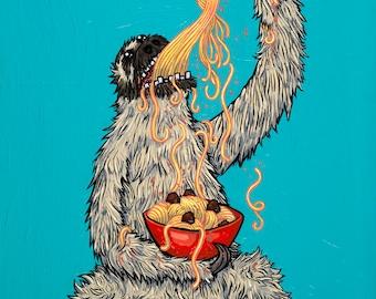 Sloth Eating Spaghetti Giclee Print Various Sizes