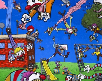 Flying Clowns Descend on the Schoolyard 8 x 12 Giclee Print
