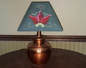 Copper Table Lamp With Hand Painted Shade - Hammered and Etched Copper, Cloth Shade, 17 quot Tall