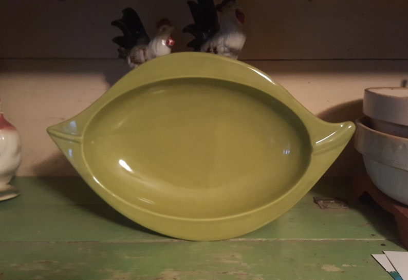 Made in Portugal Uniquely Shaped Large Olive Green Serving Bowl by Deartis