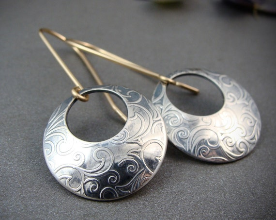 sibyl ... mixed metal sterling silver and gold filled earrings, disc earrings, gifts for her