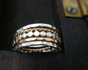 the gathering … stackable rings, mixed metal stacking rings set, hammered stack rings, handmade rings, gold and silver rings