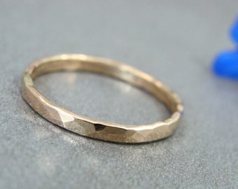 ready to ship ... glimmer ... solid 14k gold stack ring, 14k gold Wedding band, 2 mm hammered gold band, simple gold ring, gifts for her