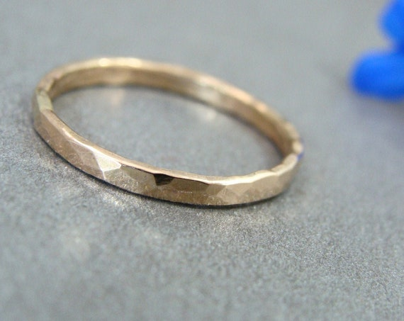 glimmer ... solid 14k gold stack ring, 14k gold Wedding band, 2 mm hammered gold band, simple gold ring, gifts for her
