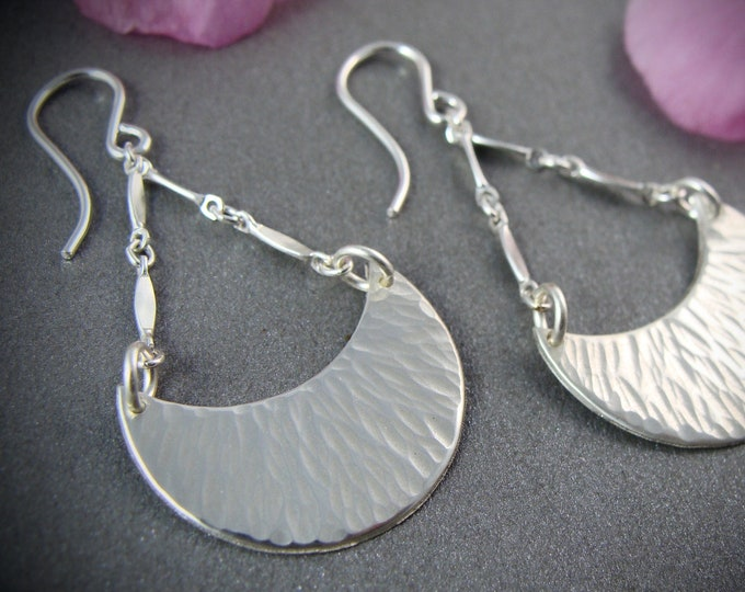 hammered crescent ... sterling silver dangles, crescent moon dangles, textured silver earrings, gifts for her