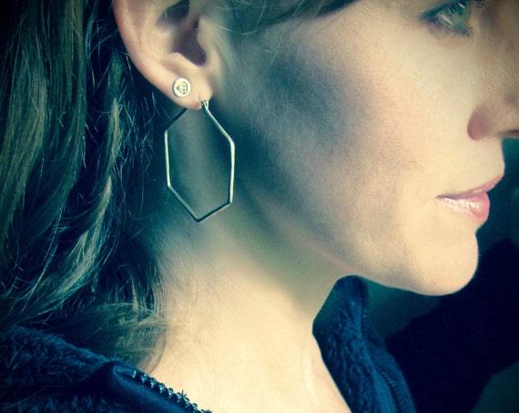hexa hoops ... geometric silver earrings, silver hoops, simple hoops, large hoops, gifts for her