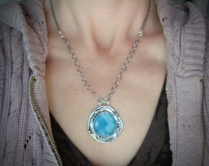 pools of blue ... handmade blue chalcedony and sterling silver pendant, statement piece,  gifts for her