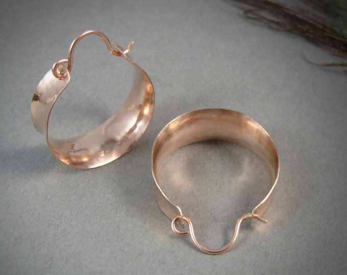 golden saddle ... 14k rose gold fill hoops, lightweight hoops, handmade jewelry, wide hoops, gifts for her, metalsmith hoops