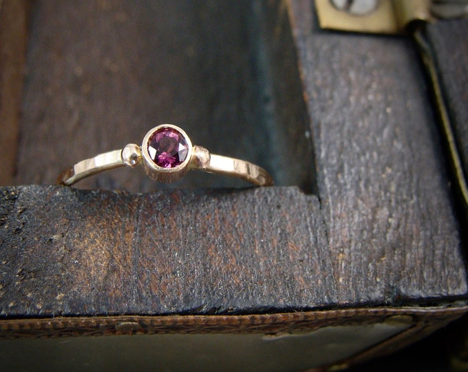 tiny tourmaline ... solid 14k gold and tourmaline stack ring, gifts for her