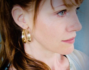 medium golden saddle ... 14k gold fill hoops, lightweight hoops, handmade jewelry, gifts for her