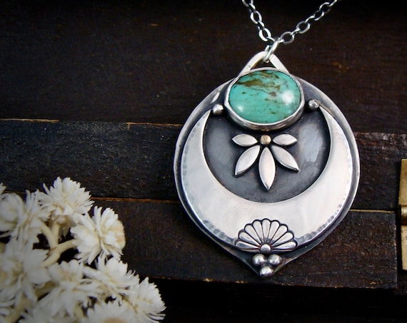 harvest moon ... handmade turquoise and sterling silver pendant, statement piece, silversmith jewelry, gifts for her
