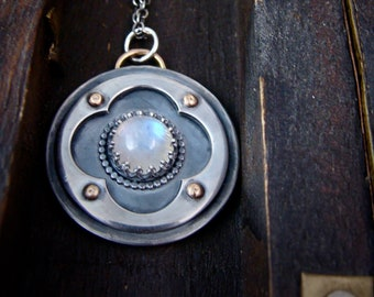 moonlight sonada ... moonstone and sterling silver pendant, artisan jewelry, gifts for her