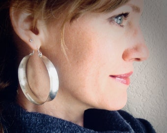 xx-large sterling silver saddle hoops, large silver hoop earrings, lightweight hoops, gifts for her