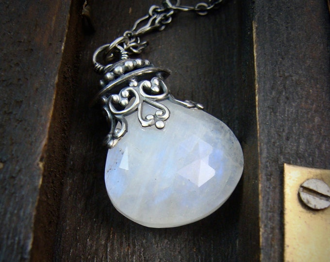 large rainbow moonstone pendulum ... sterling silver and moonstone pendant, layering pedants, silver drop pendant, gifts for her
