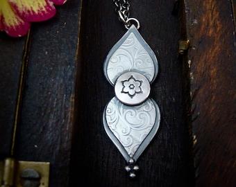 double mehndi petal ... silver pendant