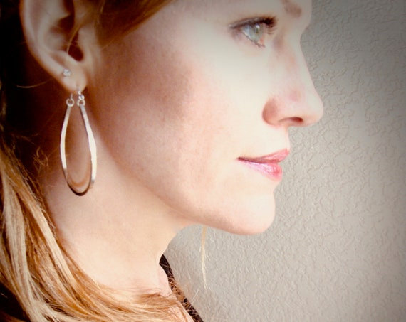 contemporary hoops ... geometric silver earrings, silver hoops, simple hoops, large hoops, teardrop hoops, gifts for her