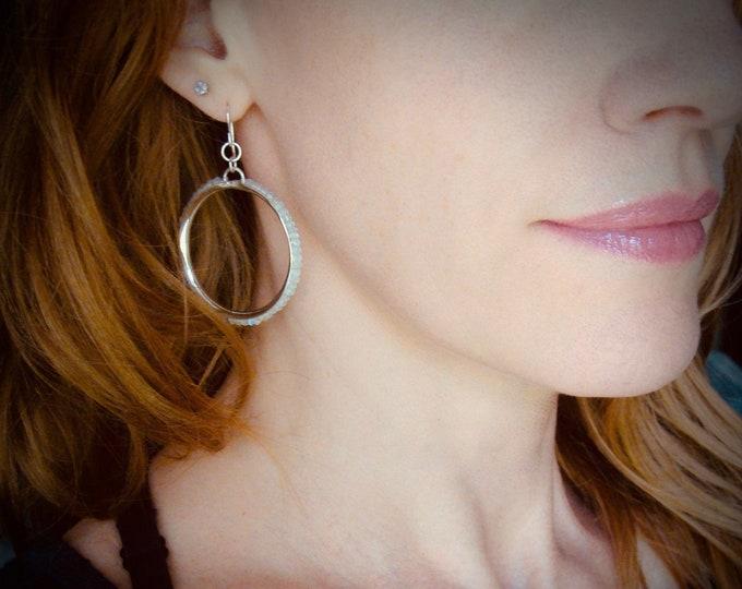 stone hoops ... sterling silver moonstone hoops, gemstone hoops, rainbow moonstone earrings, lightweight hoops, gifts for her