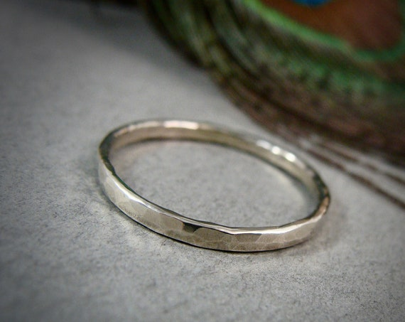 glimmer ... solid 14k white gold stack ring, 14k white gold Wedding band, hammered gold band, simple gold ring, gifts for her