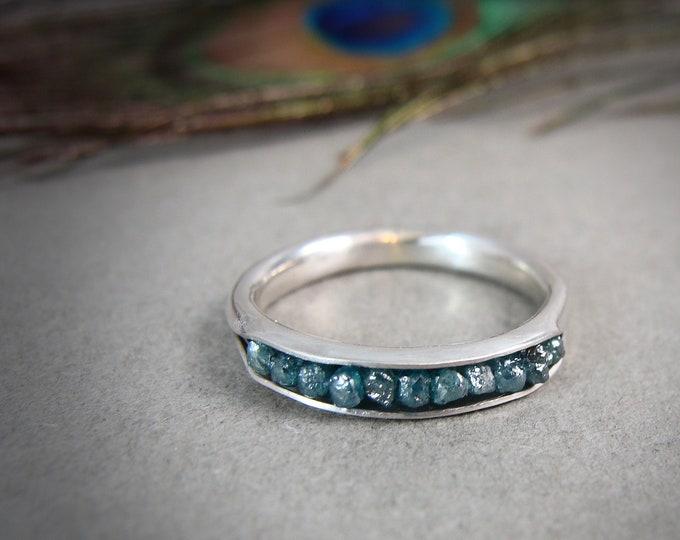 raw blue diamonds in palladium silver, raw stone jewelry, raw diamond ring, raw diamond stack ring, conflict free diamond ring