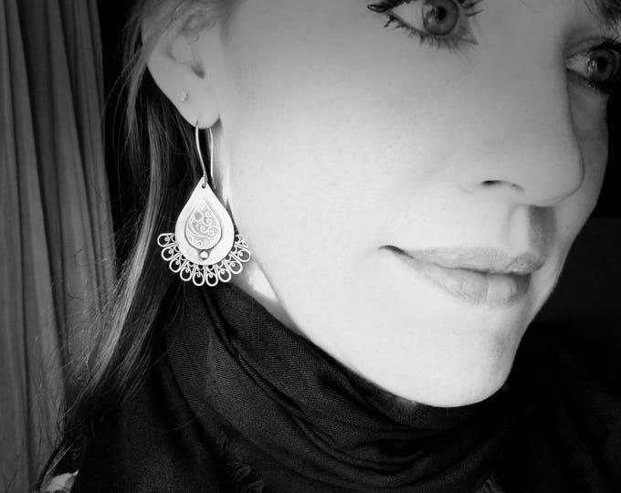 flourish  ... large sterling festoon earrings, statement earrings, large earrings, handmade jewelry, gifts for her