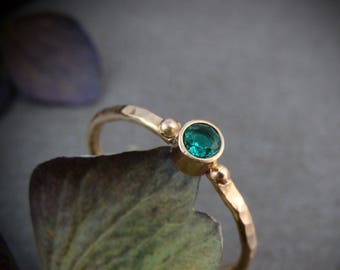 tiny nature spirit ... solid 14k gold and emerald stack ring, May birthstone ring, gifts for her