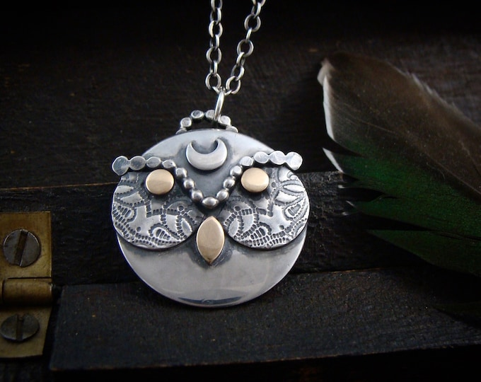 owl talisman... handmade sterling silver jewelry, owl lovers, gifts for her, owl pendant, artisan jewelry