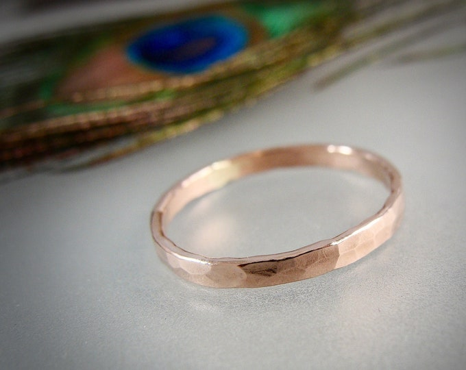 glimmer ... solid 14k rose gold stack ring, 14k rose gold Wedding band, 2 mm hammered gold band, simple gold ring, gifts for her