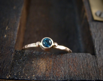 tiny water spirit ... solid 14k gold London blue topaz stack ring, gifts for her, petite gold ring