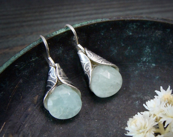 lily bells ... aquamarine dangles, Silver earrings, gifts for her, handmade jewelry, sterling aquamarine earrings