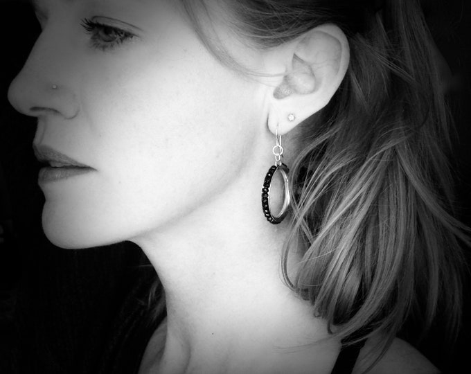 stone hoops ... sterling silver black spinel hoops, gemstone hoops, black spinel earrings, lightweight hoops, gifts for her